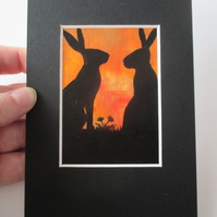 ACEO Bunny Rabbit silhouette original miniature painting mounted affordable art