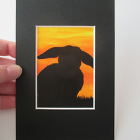 ACEO Rabbit aceo silhouette original art painting picture bunny black sunset