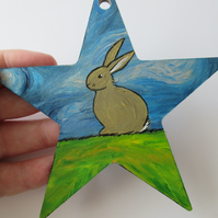 Bunny Rabbit Star Hand Painted Picture Original Art on Wooden Star