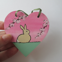 Bunny Rabbit Love Heart Cherry Blossom Original Painting 01.20 Limited Edition
