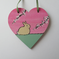Bunny Rabbit Love Heart Cherry Blossom Original Painting 02.20 Limited Edition
