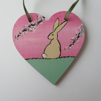 Bunny Rabbit Love Heart Cherry Blossom Original Painting 05.20 Limited Edition