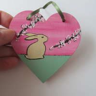 Bunny Rabbit Love Heart Cherry Blossom Original Painting 06.20 Limited Edition