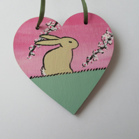 Bunny Rabbit Love Heart Cherry Blossom Original Painting 11.20 Limited Edition