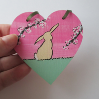 Bunny Rabbit Love Heart Cherry Blossom Original Painting 13.20 Limited Edition