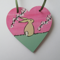 Bunny Rabbit Love Heart Cherry Blossom Original Painting 14.20 Limited Edition