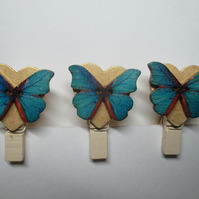Butterfly on Love Heart Peg Clip Mini Peg Set of three Gold Blue Orange