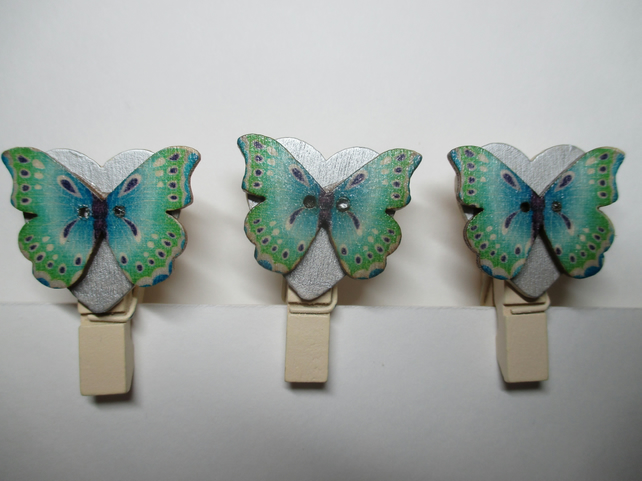 Butterfly on Love Heart Peg Clip Mini Peg Set of three Silver Green Blue