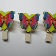 Butterfly on Love Heart Peg Clip Mini Peg Set of three lime green and rainbow