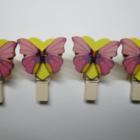 Butterfly on Love Heart Peg Clip Mini Peg Set of four yellow pink lilac