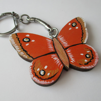 Butterfly Keyring Hand Painted Wooden Key Ring Key Chain