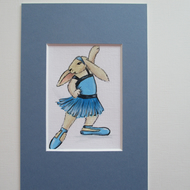 Dancing Bunny Rabbit ACEO SFA Picture Painting Original Charleston Dance