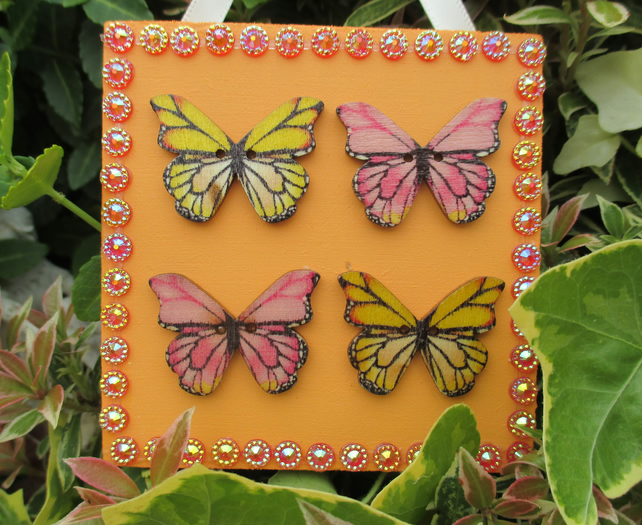 Butterfly Wooden Hanging Decoration Twinkly Sparkly Orange