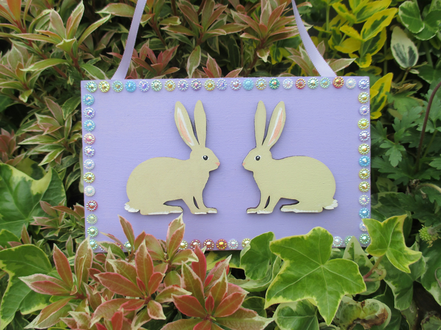 Bunny Rabbit Wooden Hanging Decoration Lilac
