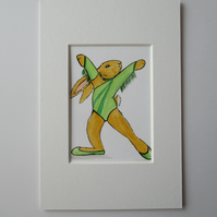 ACEO Bunny Rabbit Disco Dancing Dancer Miniature Original Painting Picture