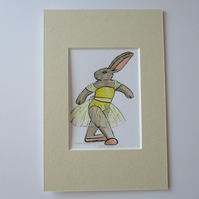 ACEO Bunny Rabbit Ballet Dancing Dancer Miniature Original Painting Picture