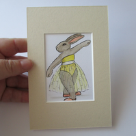 SALE ACEO Bunny Rabbit Ballet Dancing Dancer Miniature Original Painting Picture