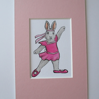 ACEO Bunny Rabbit Charleston Dancer Miniature Original Painting Picture