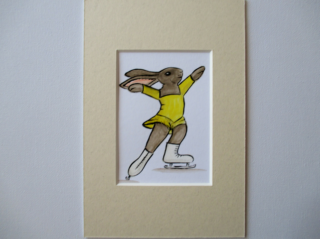 ACEO Bunny Rabbit Ice Skater Skating Dancing Miniature Original Painting Picture