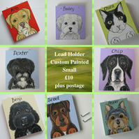 Small Lead Hanger for Dog Collar Hand Painted Pet Portrait Personalised Sml