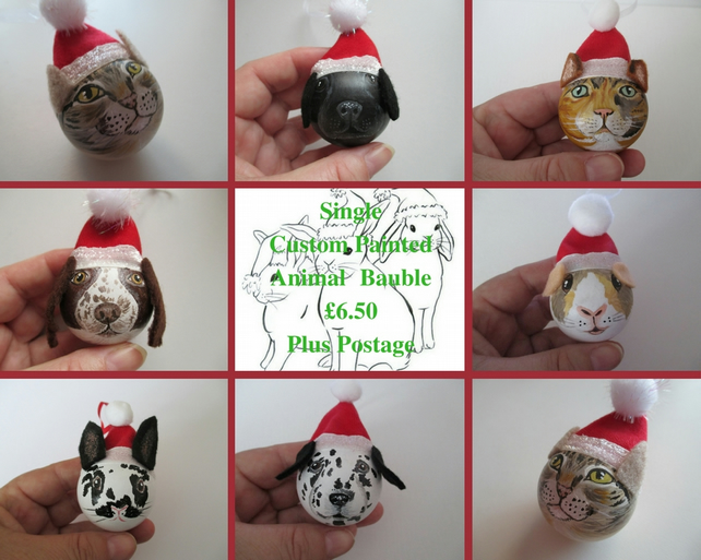 Personalised Pet or Animal Christmas Bauble Cat Dog Rabbit Guinea Pig Xmas