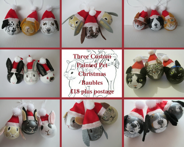 3x Personalised Pet Portrait Bauble Custom Painted Cat Dog Rabbit Guinea Pig etc