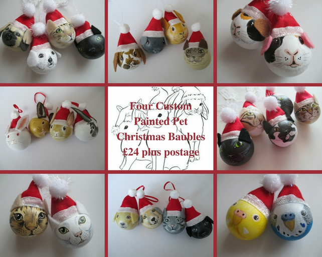 4x Personalised Pet Portrait Bauble Custom Painted Cat Dog Rabbit Guinea Pig etc