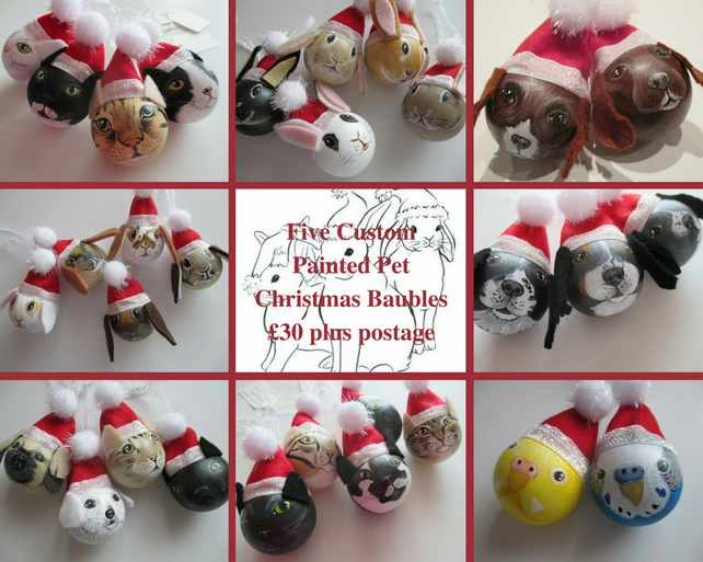 5x Personalised Pet Portrait Bauble Custom Painted Cat Dog Rabbit Guinea Pig etc