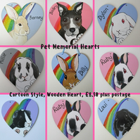 Pet Memorial Heart Personalised Painted Wooden Heart Rainbow Cat Dog Rabbit etc