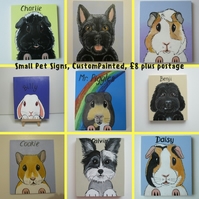 Personalised Pet Sign customised for rabbits guinea pigs cats dogs Sml NO HOLES