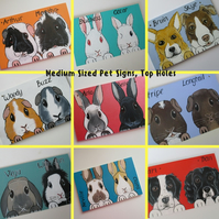 Personalised Pet Sign customised for rabbits guinea pigs cats dogs M top holes