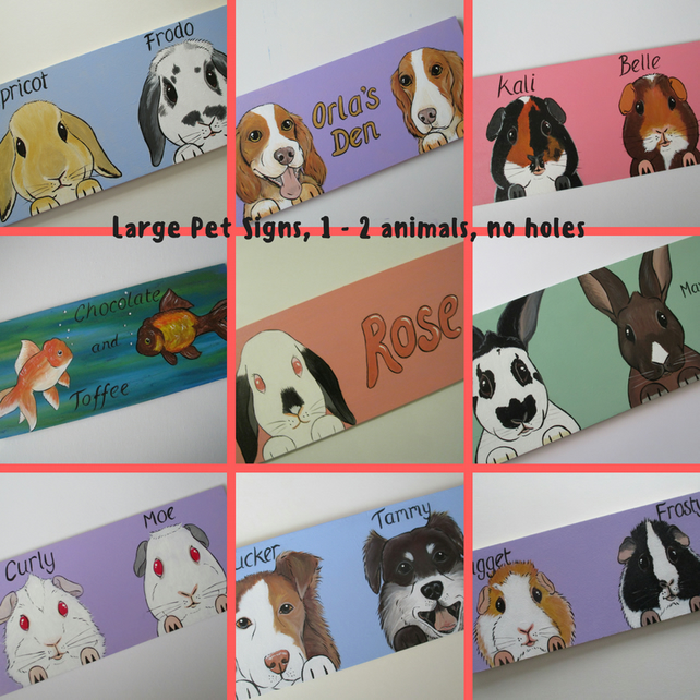 Custom Painted Pet Hutch Shed Sign cat dog rabbit Large no holes 1 - 2 animals