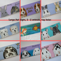 Personalised Pet Sign customised Portrait 1 or 2 animals L top holes cat dog etc