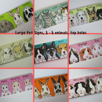 Pet Animal Portrait Hutch Shed Custom Painted Sign L top holes for 3 or 4 pets