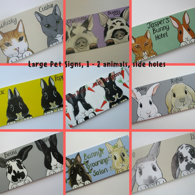 Pet Portrait Shed Hutch Sign Large Side Holes 1 or 2 Animals Cat Dog Rabbit etc.