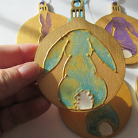 Bunny Rabbit Hanging Decoration Christmas Tree Bauble Hand Painted OOAK Gold