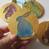 Bunny Rabbit Hanging Decoration Christmas Tree Bauble Hand Painted OOAK