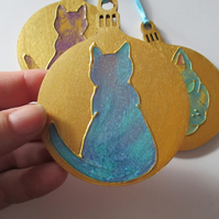 Pussy Cat Hanging Decoration Christmas Tree Bauble Hand Painted OOAK Gold