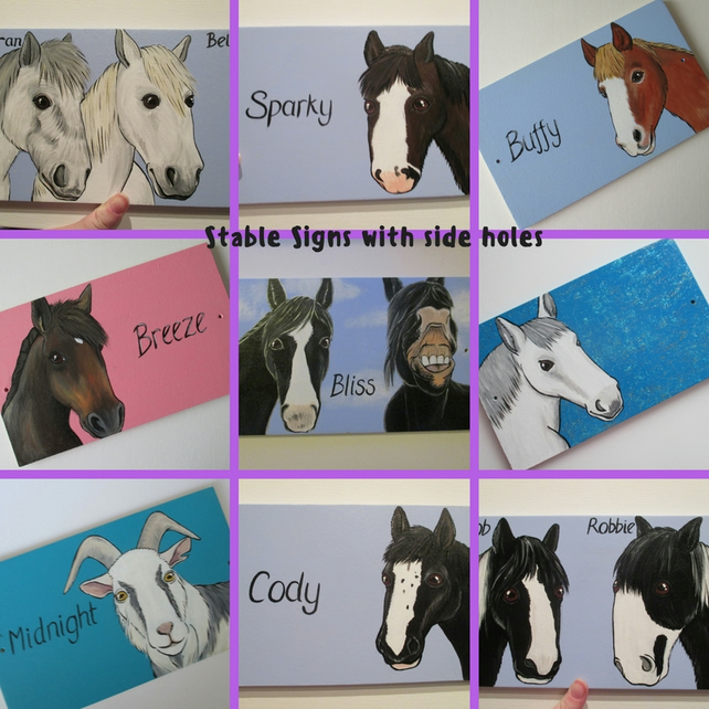 Horse Donkey Pony Goat Unicorn Stable Door Sign Plaque Picture Custom Painting