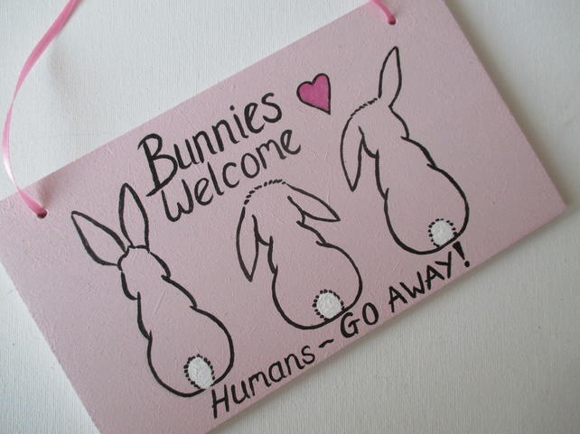 Bunnies Welcome Hanging Decoration Room Sign Bunny Rabbit Pink Picture