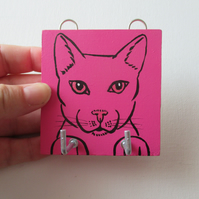 Key Rack Cat Pussy Hand Painted Key Hook Holder Pink Original Painting