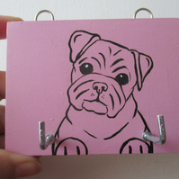 Key Rack Pug Dog  Hand Painted Key Hook Holder Pink Dog