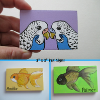 Pet Cage Sign Custom Painted Personalised Portrait XS hamster budgie mouse