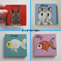 Pet Cage Sign Custom Painted Personalised Portrait XS hamster gerbil mouse