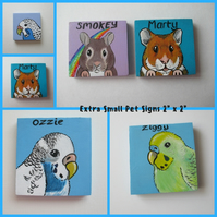 Pet Cage Sign Custom Painted Personalised Portrait XXS hamster gerbil budgie