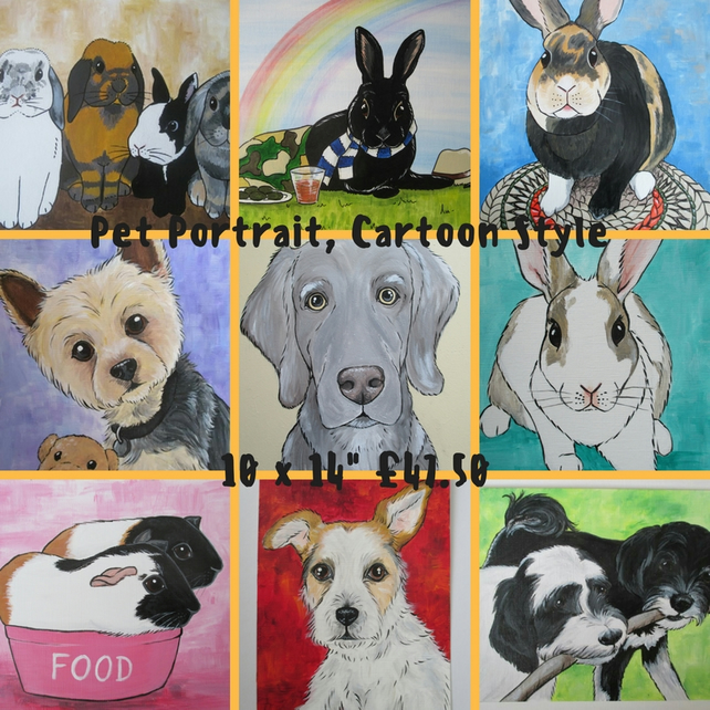 Pet Portrait Cartoon Style 10x14 Cat Dog Rabbit Guinea Pig Hamster Horse Donkey