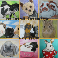 Pet Portrait Cartoon Style 6x4 Cat Dog Rabbit Guinea Pig Hamster Horse Donkey