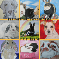 Pet Portrait Cartoon Style 7x5 Cat Dog Rabbit Guinea Pig Hamster Horse Donkey