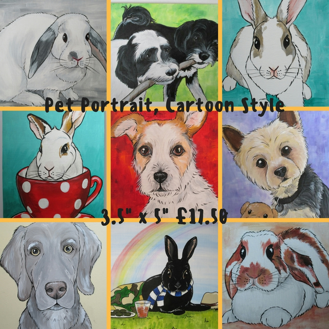 Pet Portrait Small Custom Animal Picture Painting Cat Dog Rabbit Hamster etc