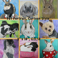 Pet Portrait Cartoon Style 8x10 Cat Dog Rabbit Guinea Pig Hamster Horse Donkey